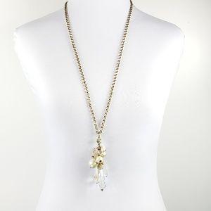 Ann Taylor Long Pendant Necklace Pearls + Crystals